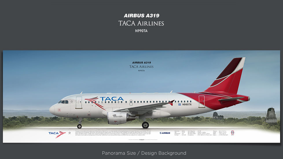 Airbus A319 TACA Airlines, plane print, retired pilot gift, aviation posters, airliners prints, civil aircraft, TAI, jetliner