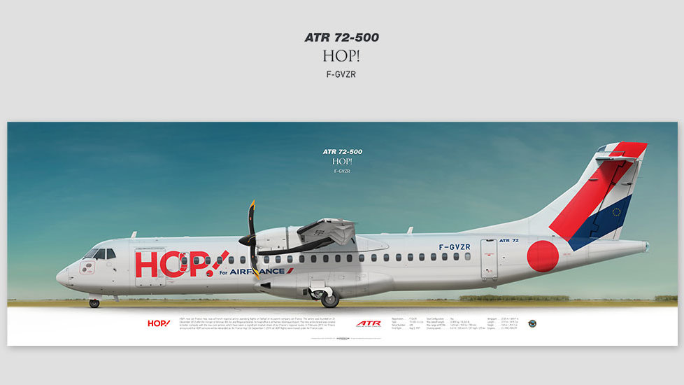 ATR 72-500 HOP!, gift for pilots, aviation art prints, aircraft print, custom posters, plane picture, regional turboprop