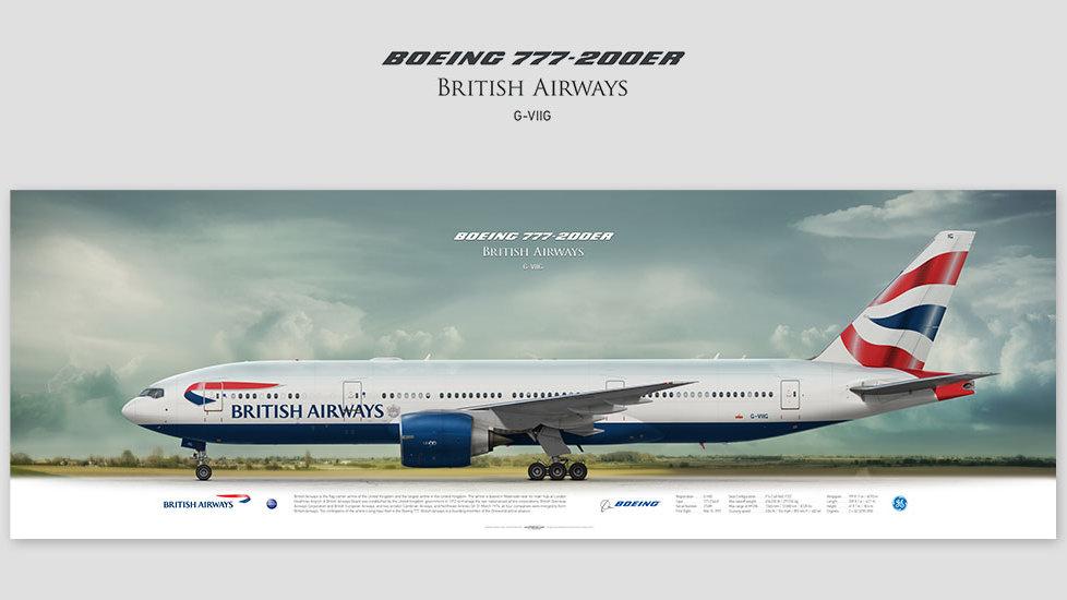 Boeing 777-200ER British Airways, gift for pilots, aviation prints, pilot wall decor, speedbird, aircraft profile prints