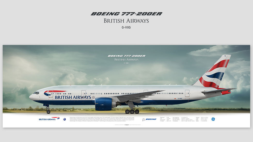Boeing 777-200ER British Airways, gift for pilots, aviation prints, pilot wall decor, speedbird, aircraft profile prints