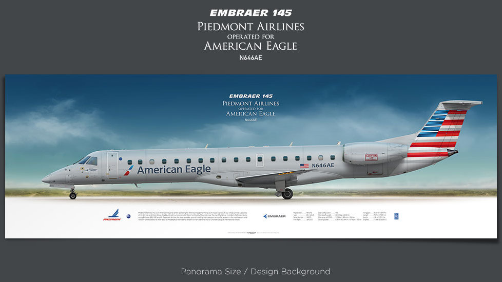 Embraer 145 Piedmont Airlines, American Eagle, plane prints, retired pilot gift, aviation posters, airliners prints