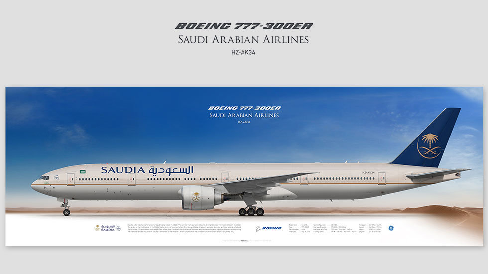 Boeing 777-300ER Saudia​​​​​​​, posterjetavia, gifts for pilots, aviation, aviation art , avgeek, plane pictures, boeing777