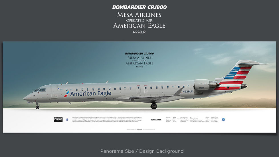 Bombardier CRJ900 Mesa Airlines,American Eagle, plane prints, retired pilot gift, aviation posters, airliners prints
