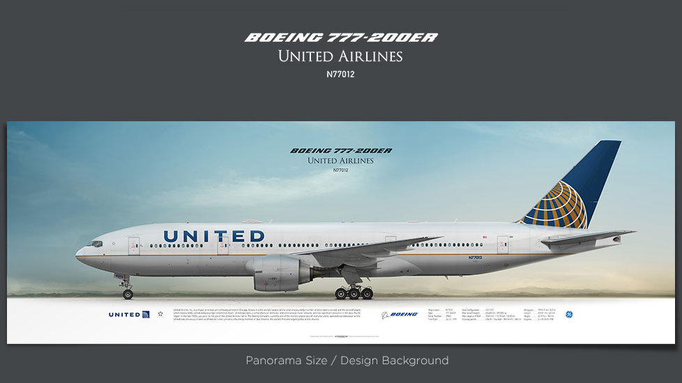 Boeing 777-200ER United Airlines, gifts for pilots, aviation prints, aircraft posters, custom posters, retired pilot, UAL