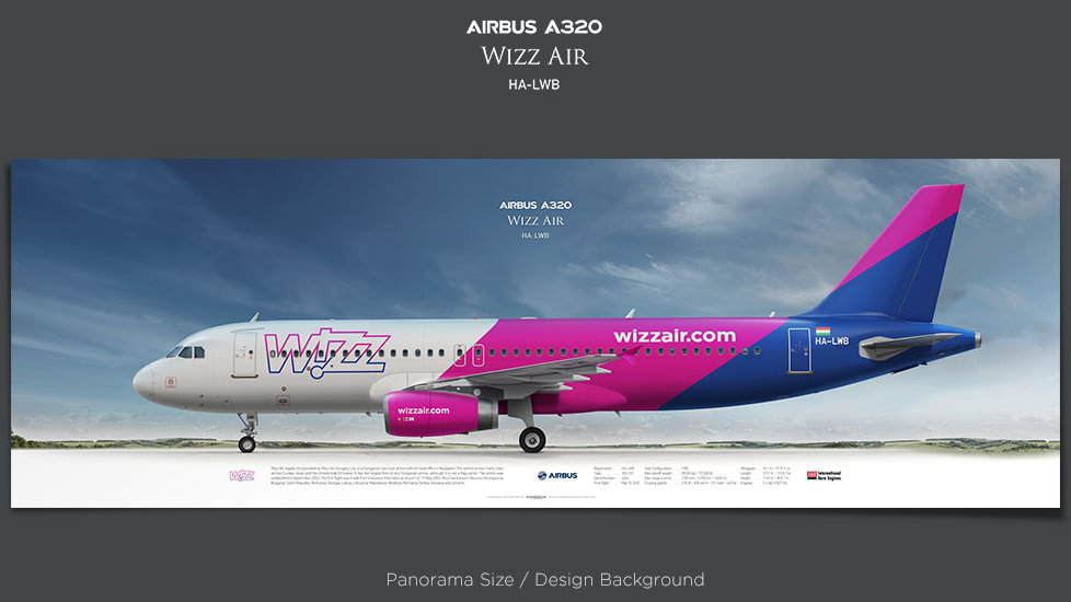 Airbus A320 Wizz Air, plane prints, retired pilot gift, aviation posters, airliners prints, civil aircraft, WZZ