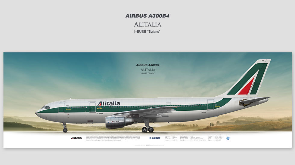 Airbus A300B4 Alitalia, posterjetavia, gifts for pilots, aviation, aviation art , avgeek, plane pictures