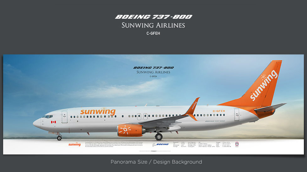 Boeing 737-800 Sunwing Airlines, plane prints, retired pilot gift, aviation posters for sale, boeing poster, jetliner prints