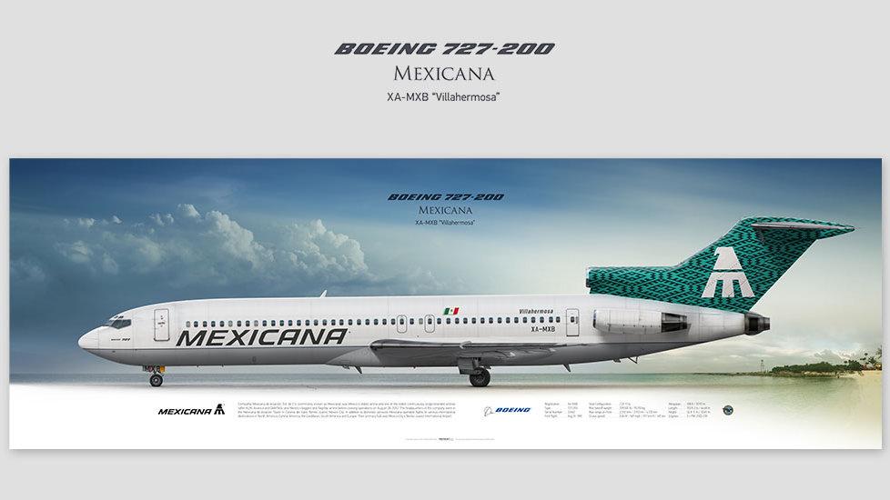 Boeing 727-200 Mexicana, posterjetavia, gifts for pilots, aviation, aviation art, avgeek, airplane pictures, avia prints, mxa