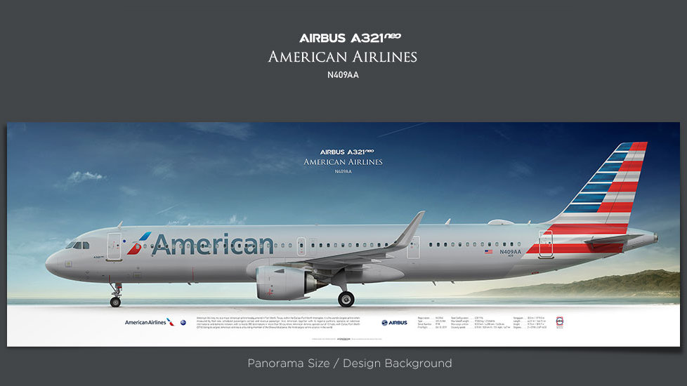 Airbus A321neo American Airlines, gifts for pilots, aviation art prints, aircraft prints, custom posters, airplane poster