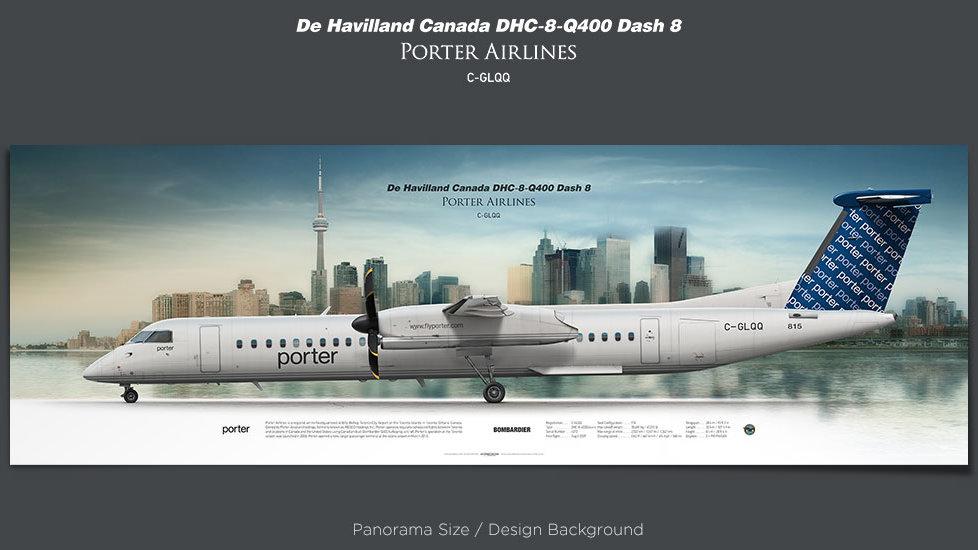 De Havilland Canada DHC-8-Q400 Porter Airlines, POE, plane prints, retired pilot gift, aviation posters, airliners prints
