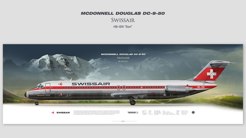 DC-9-50 Swissair, posterjetavia, gifts for pilots, aviation, aviation art, avgeek, airplane pictures, SWR, maddog