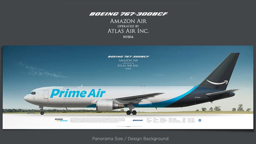 Boeing 767-300BCF Amazon Air, plane prints, retired pilot gift, aviation posters, cargo airplane, plane image, GTI