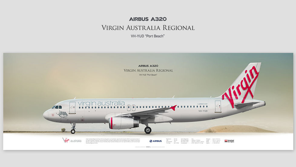 Airbus A320 Virgin Australia, posterjetavia, profile prints, gift for pilots, aviation, airplane picture, airline