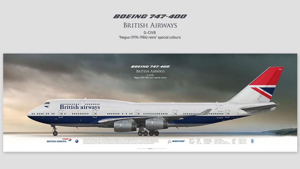 Boeing 747-400 British Airways G-CIVB, posterjetavia, profile prints,pilot gifts, aviation, GCIVB, airline, jumbojet, BA100