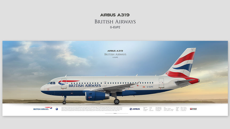 Airbus A319 British Airways, posterjetavia, airliners profile prints, gift for pilots