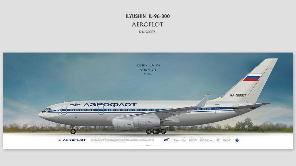Ilyushin Il-96-300 Aeroflot, posterjetavia, gifts for pilots, aviation, airliner, pilotlife, aviationdaily, aviationart