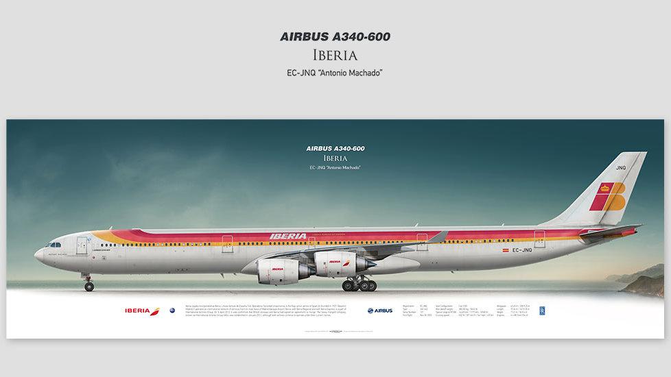 Airbus A340-600 Iberia, gift for pilots, aviation prints, pilot wall decor, avia poster, aircraft profile art prints