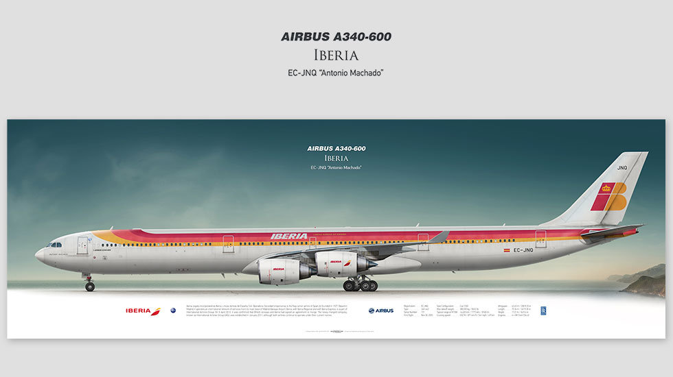 Airbus A340-600 Iberia, gift for pilots, aviation prints, pilot wall decor, avia poster, aircraft profile art prints