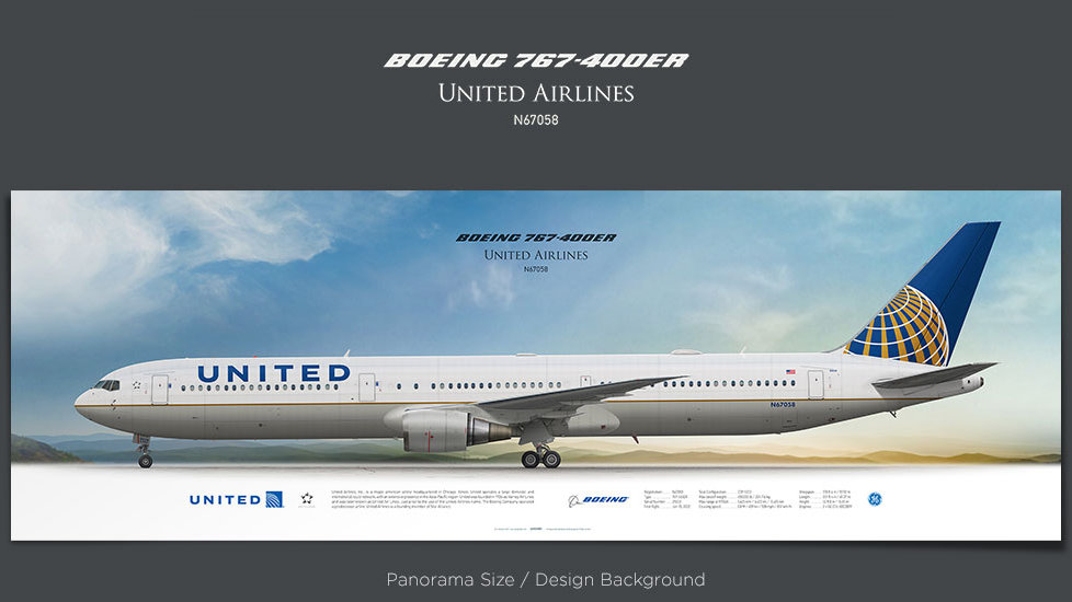 Boeing 767-400ER United Airlines, plane prints, retired pilot gift, aviation posters, airliners prints, civil aircraft, UAL