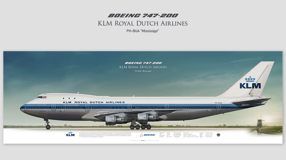 Boeing 747-200 KLM Royal Dutch Airlines, posterjetavia, gifts for pilots, aviation, aviation art, avgeek, airplane pictures