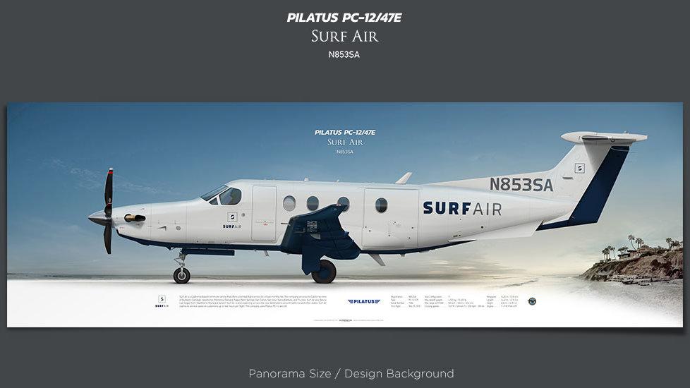 Pilatus PC-12/47E Surf Air, plane prints, retired pilot gift, aviation posters, airliners prints, pilotlife, turboprop