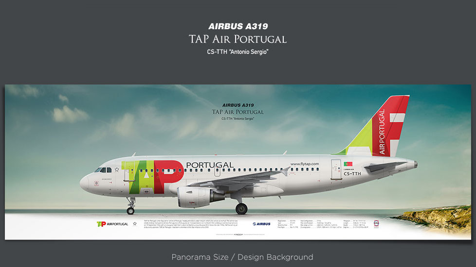 Airbus A319 TAP Air Portugal, plane prints, retired pilot gift, aviation posters, airliners prints, civil aircraft, jetliner