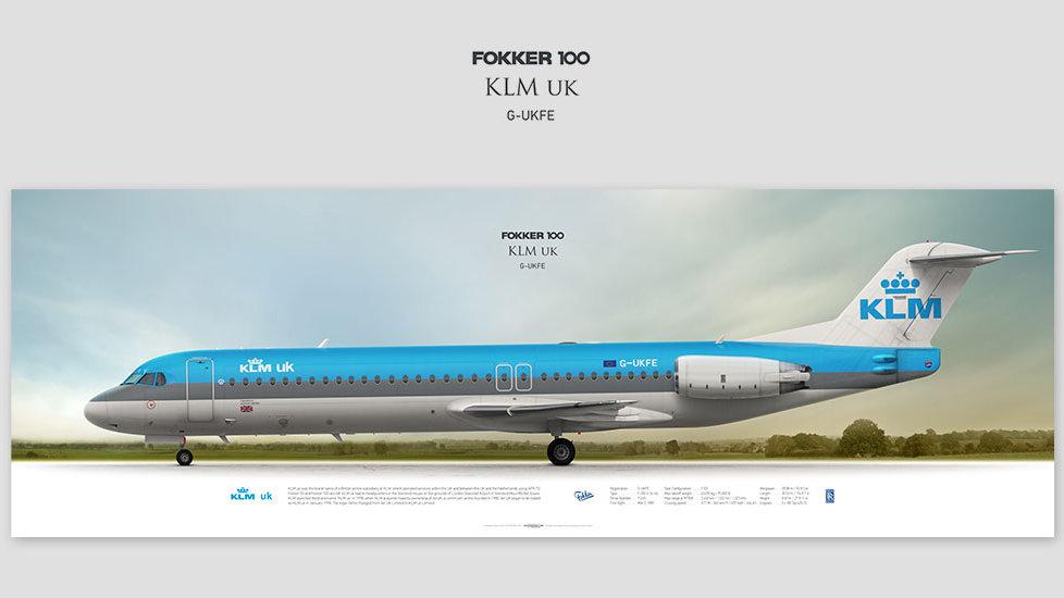 Fokker 100 KLM uk, gift for pilots, aviation art prints, aircraft print, custom posters, plane picture, Air UK, retired pilot