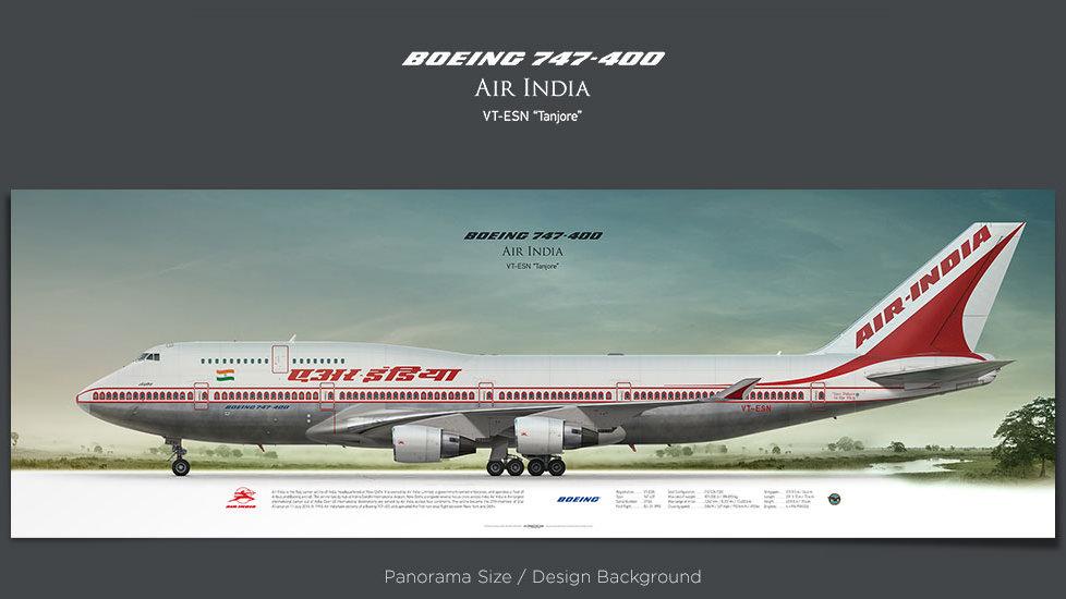 Boeing 747-400 Air India, plane prints, retired pilot gift, aviation posters for sale, jetliner prints, jumbojet print