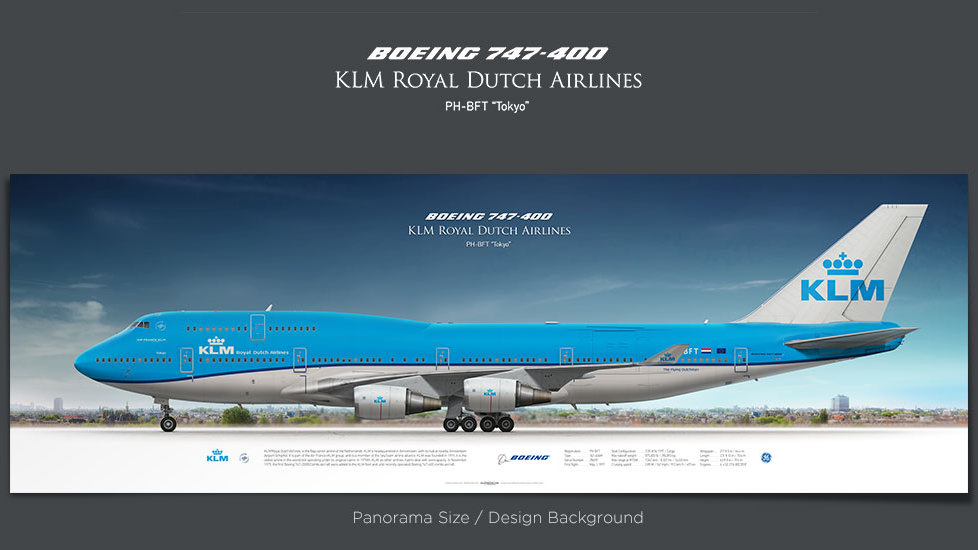 Boeing 747-400 KLM Royal Dutch Airlines, gifts for pilots, plane prints, airplane poster, retired pilot gift, civil aviation
