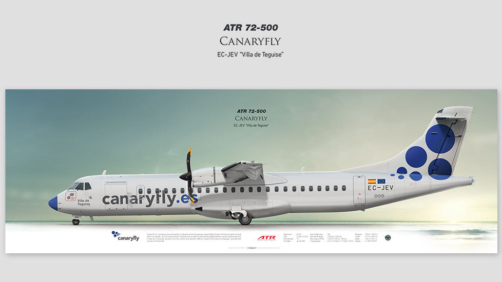 ATR 72-500 Canaryfly, gift for pilots, aviation art prints, aircraft poster, custom posters, plane picture