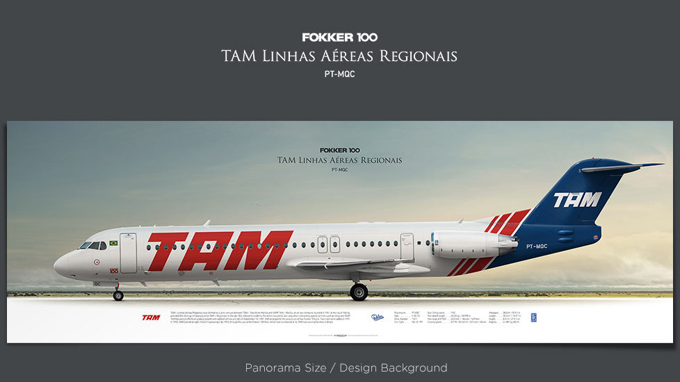 Fokker 100 TAM – Linhas Aéreas Regionais, plane prints, retired pilot gift, aviation posters, airliners prints, aviationart