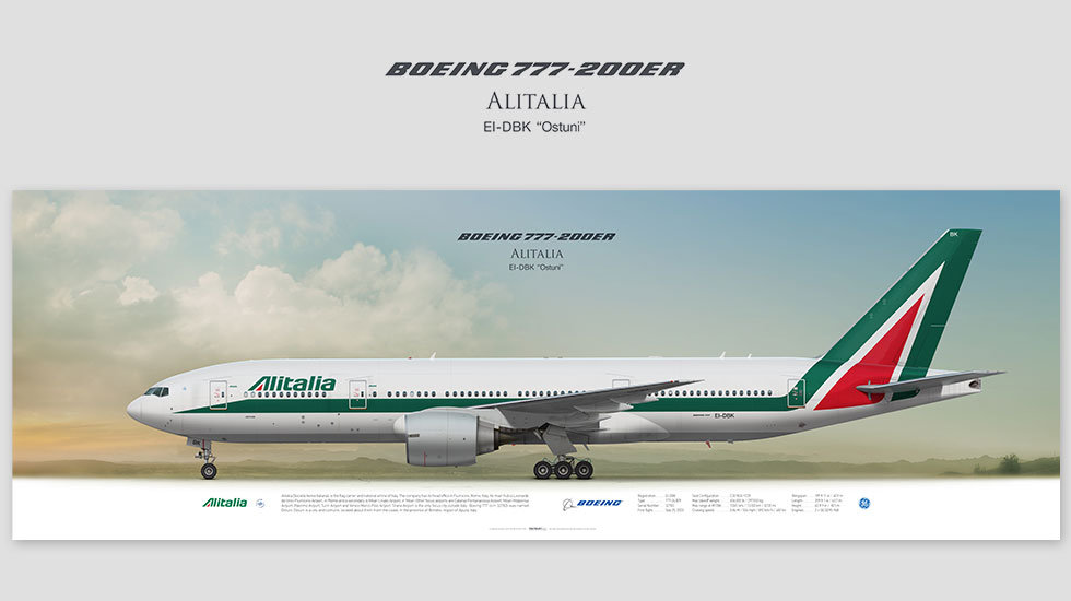 Boeing 777-200 Alitalia, posterjetavia, profile prints, gift for pilots, aviation, airplane picture, airline