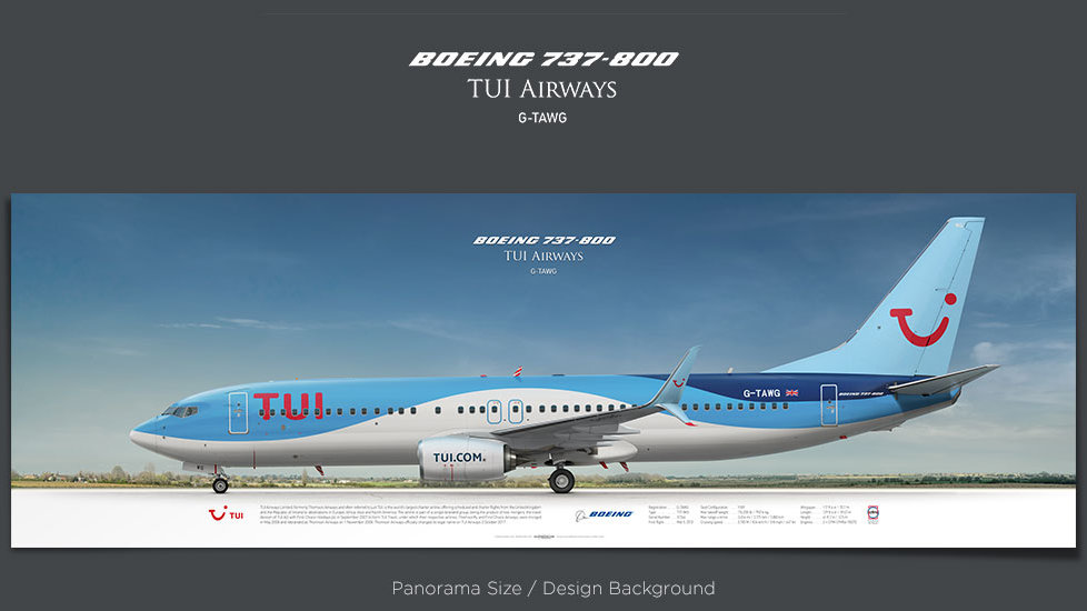 Boeing 737-800 TUI Airways, plane prints, retired pilot gift, aviation posters, airliners prints, civil aircraft, TOM