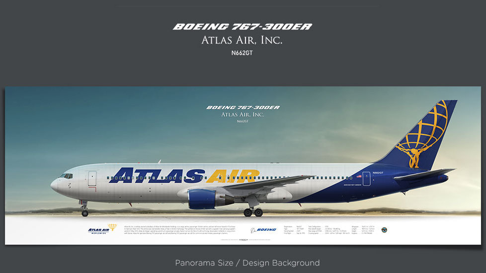 Boeing 767-300 Atlas Air, plane prints, retired pilot gift, aviation posters for sale, cargo plane prints, GTI