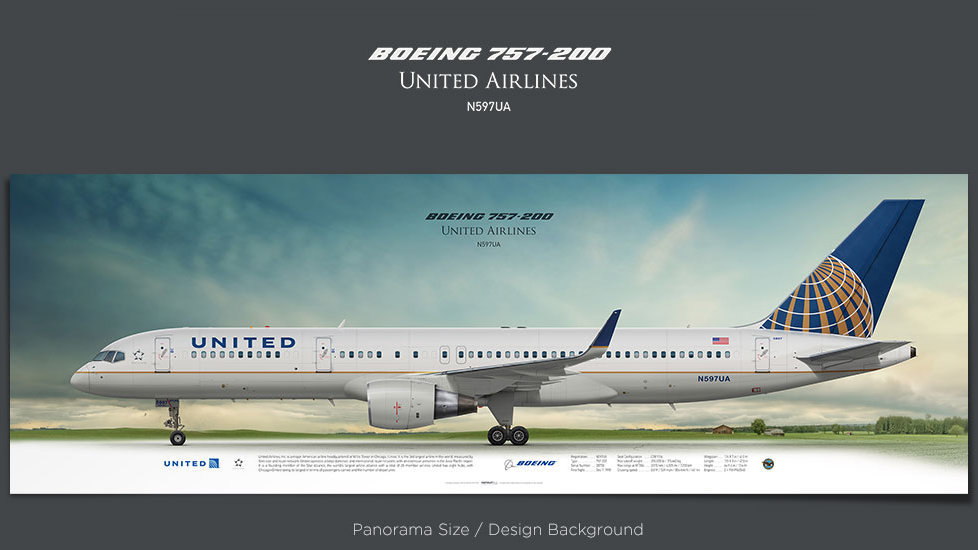 Boeing 757-200 United Airlines, plane prints, retired pilot gift, aviation posters, airliners prints, civil aircraft, UAL