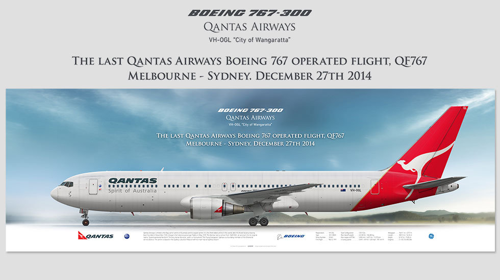 Boeing 767-300 Qantas Airways, Last 767, posterjetavia, gifts for pilots, aviation, aviation art , avgeek, airplane pictures