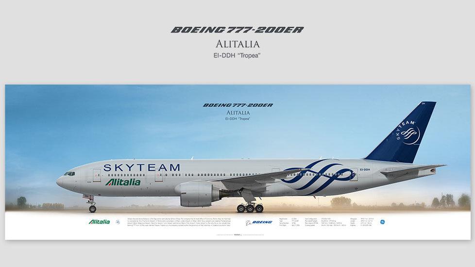 Boeing 777-200 Alitalia SkyTeam, posterjetavia, airliners profile prints, aviation collectibles prints