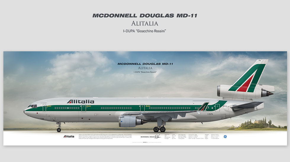 MD-11 Alitalia, posterjetavia, gifts for pilots, aviation, aviation art , avgeek, plane pictures, AZA, LIRF