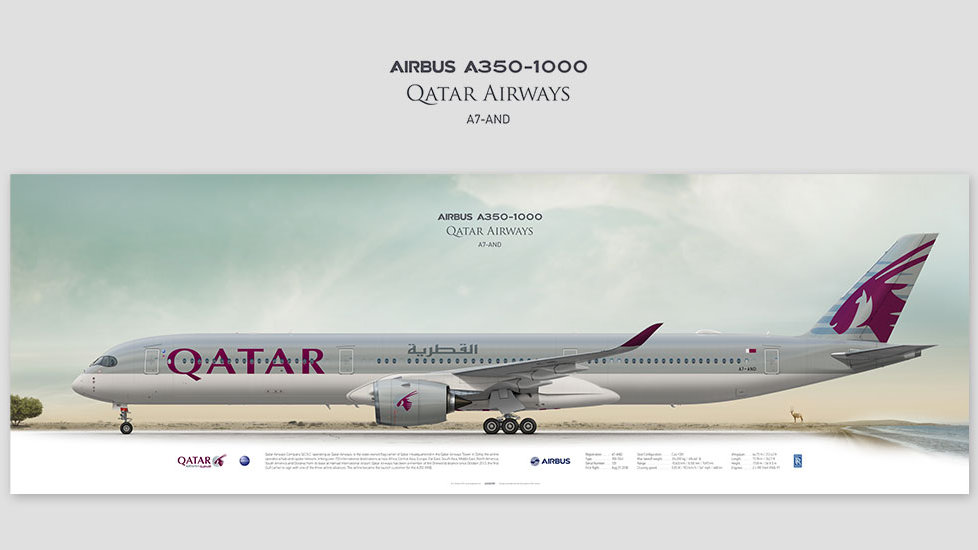 Airbus A350-1000 Qatar Airways, posterjetavia, airliners profile prints, aviation collectibles prints