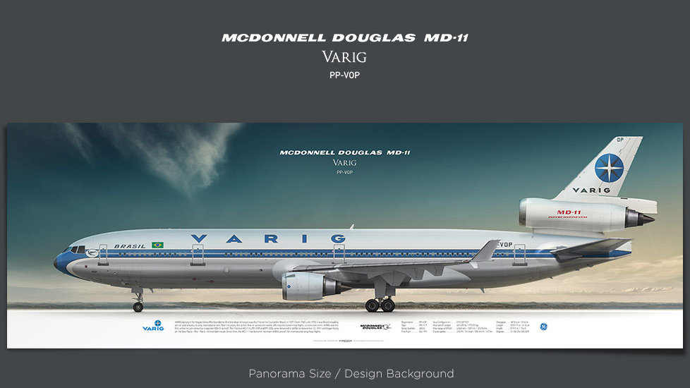 McDonnell Douglas MD-11 VARIG, plane prints, retired pilot gift, aviation posters, airliners prints, vintage aircraft, VRG