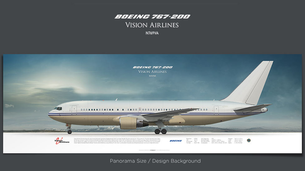 Boeing 767-200 Vision Airlines, plane prints, retired pilot gift, aviation posters for sale, boeing poster, aircraft prints