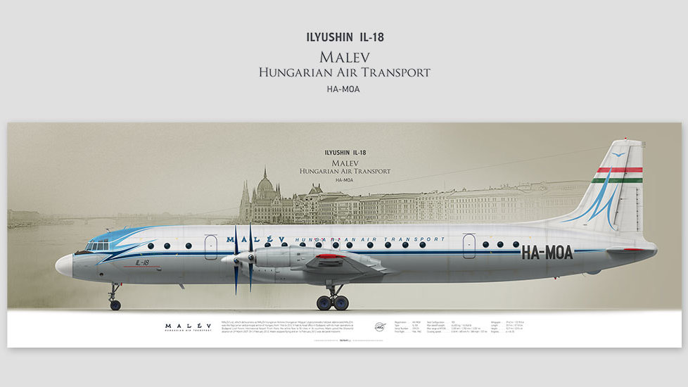 Ilyushin Il-18 Malev, posterjetavia, profile prints, gift for pilots, aviation, airplane picture, airline, aviahistory