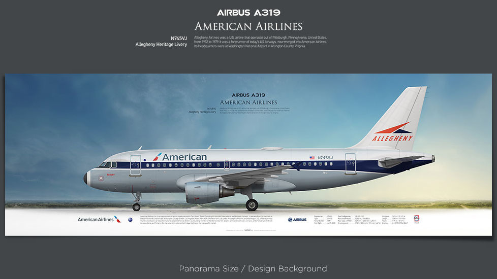 Airbus A319 American Airlines, plane prints, retired pilot gift, aviation posters, airliners prints, Heritage Livery