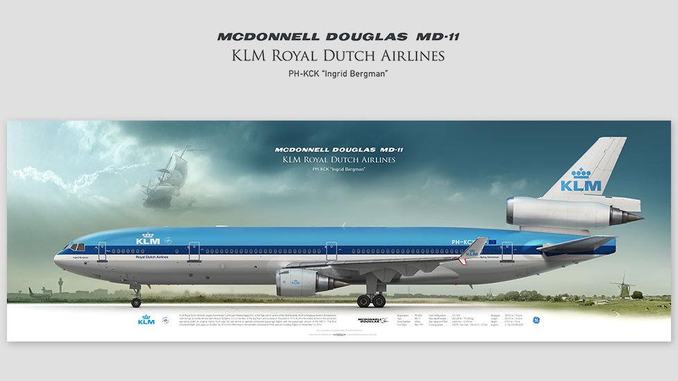 MD-11 KLM, gifts for pilots, aviation art prints, aircraft prints, custom posters, pilots prints, retired pilot