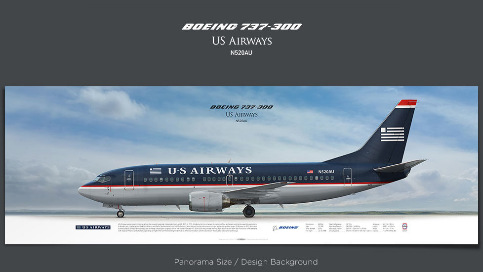 Boeing 737-300 US Airways, plane prints, retired pilot gift, aviation posters, airliners prints, vintage aircraft