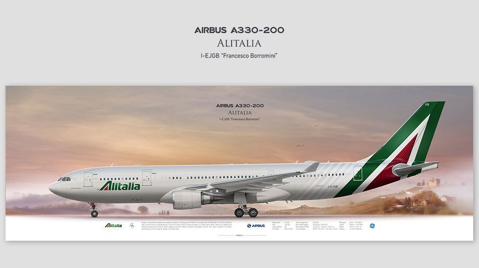Airbus A330-200 Alitalia, posterjetavia, gifts for pilots, aviation, aviation art , avgeek, airplane pictures, aza
