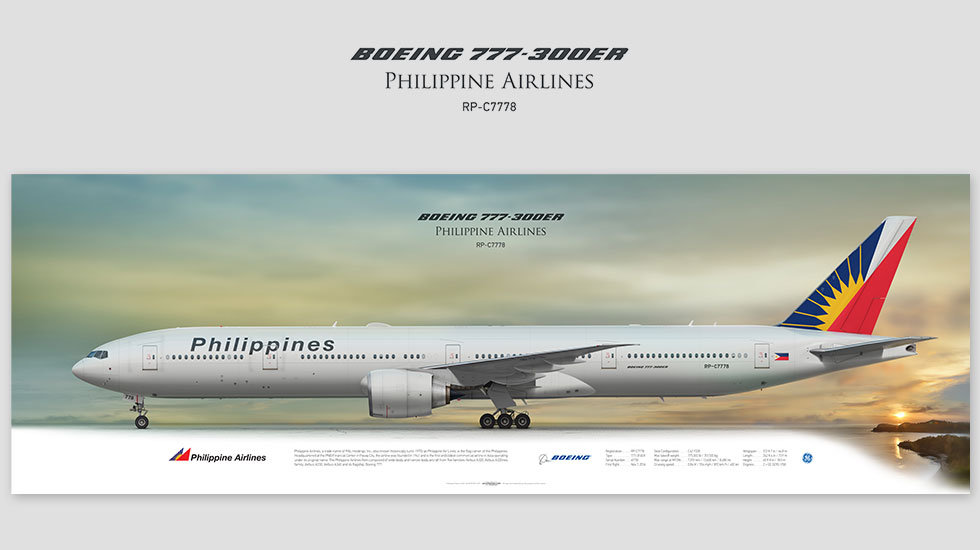 Boeing 777-300ER Philippine Airlines, gift for pilots, aviation prints, avia poster, aircraft profile art prints, PAL