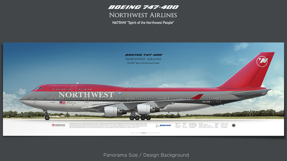 Boeing 747-400 Northwest Airlines, plane prints, retired pilot gift, aviation posters, airliners prints, jumbo jet