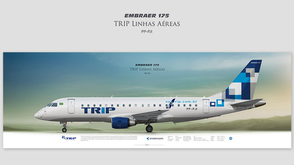 Embraer ERJ-175 TRIP, posterjetavia, profile prints, gift for pilots, aviation, airplane picture, airline