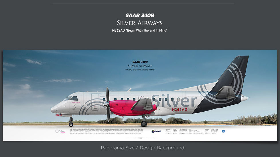 SAAB 340B Silver Airways, gifts for pilots, aviation prints, aircraft posters, custom posters, retired pilot, turboprop, SIL